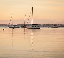 Sunrise Sailboats at Anchor by mcdonojj