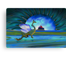 Winged beast and floating castle helps the mind release its shackle Canvas Print