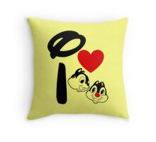 I Heart Chip 'n' Dale Throw Pillow