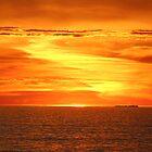 Setting sun on the horizon. by elphonline