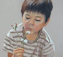 Sweet little Koby blowing fluffy weeds ! by Norah Jones