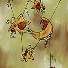 Suspended Crescent Moon and Stars by SuspendedDreams