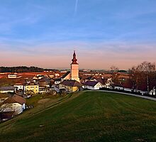 Village and church in warm sundown light II | landscape photography by Patrick Jobst