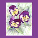Throw Pillow - Trio of Pansies by Jacki Stokes