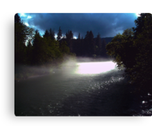 Stormy day on the river Canvas Print