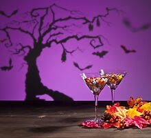 Halloween landscape a tree and a Martini glass with sweets by 3523studio