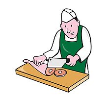 Butcher Chopping Meat Cartoon by patrimonio