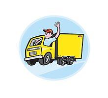 Delivery Truck Driver Waving Cartoon by patrimonio