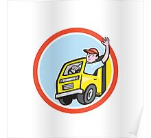 Delivery Truck Driver Waving Circle Cartoon Poster