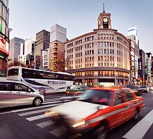 City traffic in Tokyo Ginza near Wako Department Store art photo print by ArtNudePhotos