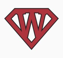 W letter in Superman style by florintenica