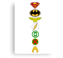 Justice League Logos Canvas Print