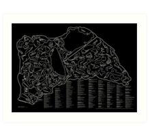 Race Tracks to Scale (Inverted) Art Print