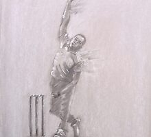 Chris Jordan - bowling sketch by Paulette Farrell