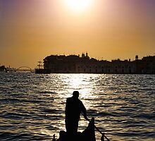 Romantic Venice Sunset Gondola by daphsam