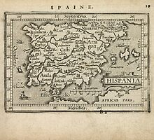 Antique Map of Spain and Portugal from 1603 by bluemonocle