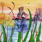 Irises by the lake by George Hunter