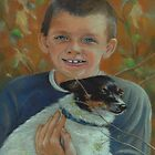 Blue-eyed Boy & Little Terrier by Pam Humbargar