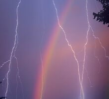 Purple Hue and Rainbow with Lightning by Sandra  Aguirre