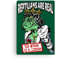 Reptilians Are Real - The Queen Is A Lizard Canvas Print