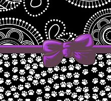 Ribbon, Bow, Dog Paws, Circles - White Black Purple by sitnica
