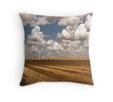 Wind Turbines on a Checkerboard Landscape Throw Pillow