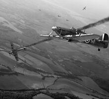 Battle of Britain dogfight B&W by Gary Eason + Flight Artworks
