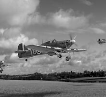 Another day: Hurricane scramble panorama B&W by Gary Eason + Flight Artworks