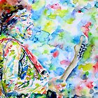 JIMI HENDRIX PLAYING the GUITAR - watercolor portrait.1 by lautir