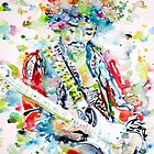 JIMI HENDRIX PLAYING the GUITAR - watercolor portrait.4 by lautir