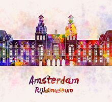 Amsterdam Rijksmuseum Landmark in watercolor by paulrommer
