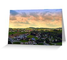 Beautiful village skyline beyond cloudy sky | landscape photography Greeting Card