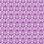 Purple And White Damask Pattern by destei