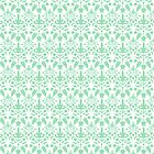 Mint Green And White Damask Pattern by destei