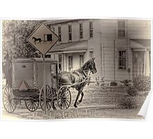 Caution: Horse & Buggy Poster