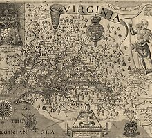 Antique Map of Virginia and Maryland from 1624 by bluemonocle