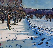 Winterly Meadow with Fruit Trees by Stefan Boettcher
