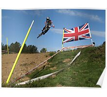 Mountain biker jumping with union jack Poster