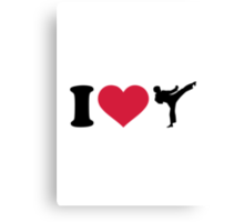 I love Karate Kickboxing Canvas Print