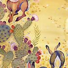 Jackrabbits & Prickly Pear Cacti by Acey Thompson