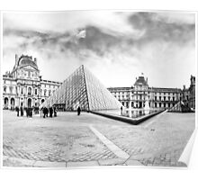 Landmark Louvre Museum Courtyard - Black and White Poster