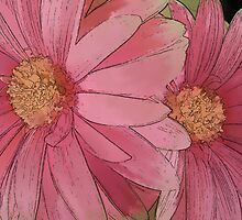 Pink Gerbera Line and Ink by DiEtte Henderson