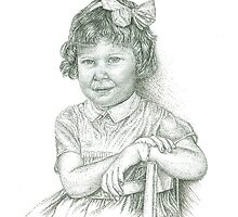 Self - Portrait - Age 3 - B and W by julieannart