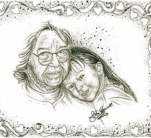 Mina's Grandma - B and W with Boarder by julieannart