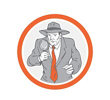 Detective Holding Magnifying Glass Circle Retro by patrimonio