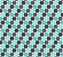 Aqua blue and gray hexagon pattern by Mhea