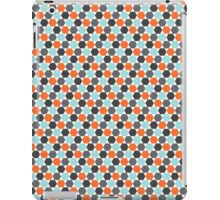 Orange, aqua blue and gray hexagon pattern iPad Case/Skin
