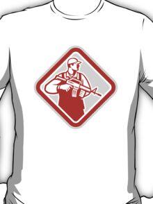 Soldier Serviceman Military Assault Rifle Shield Retro T-Shirt
