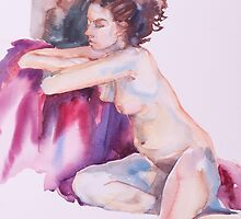 Seated Nude by katebedell