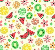 Fresh summer fruit and flower pattern - melon, kiwi, lime, orange by MheaDesign